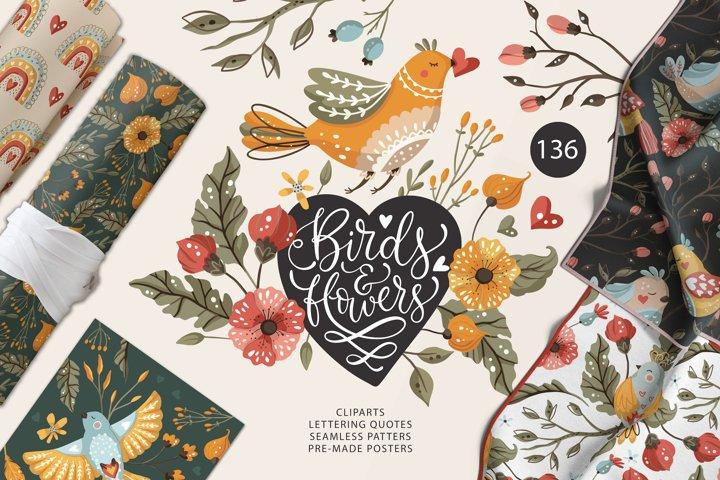 Birds & Flowers Spring floral bundle
