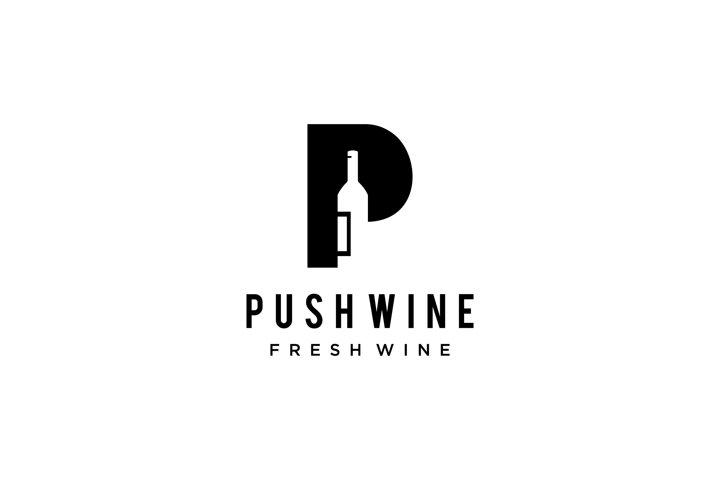 P wine bottle sign