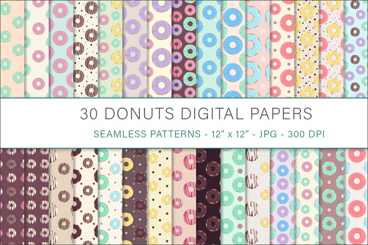 Donuts digital papers - 30 Seamless Designs