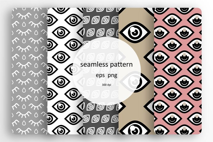 5 Seamless patterns set with different eyes