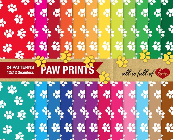 Dog Paw Digital Paper