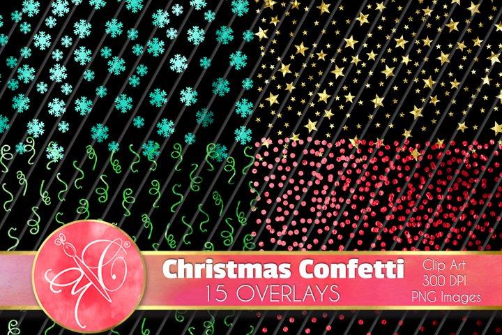 Christmas Glitter Confetti Clip Art, Overlays
