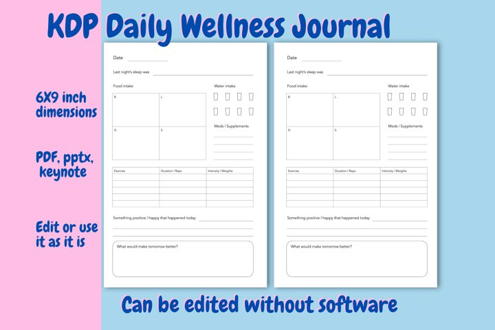 KDP Daily Wellness Journal, Interior and Editable Template
