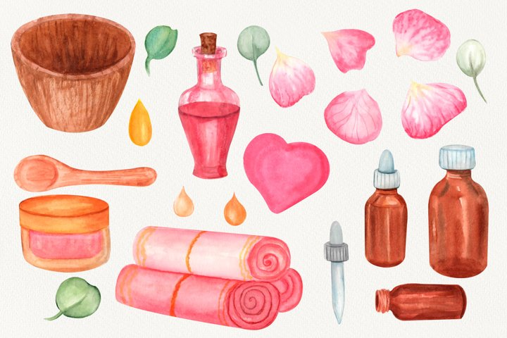 Watercolor Spa clipart. beauty clipart