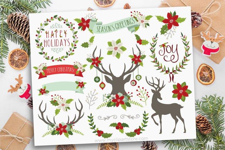 Farmhouse Christmas, Reindeer Silhouettes, Vector Clipart