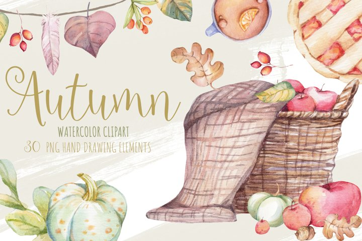 Cozy Autumn Fall Home Decor Watercolor Clipart