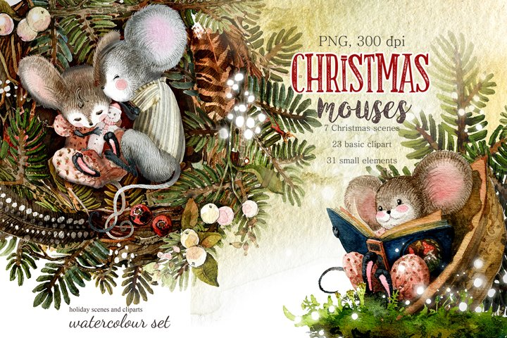 Christmas mouse. Watercolor cliparts.
