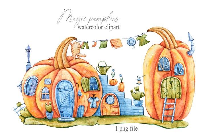 Watercolor cute fairy pumpkin house clipart, cat character