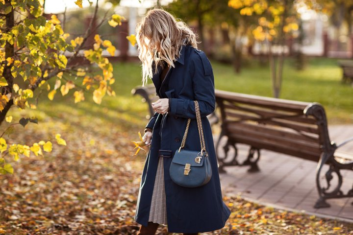 Stylish woman in a blue coat. Autumn, clothing details