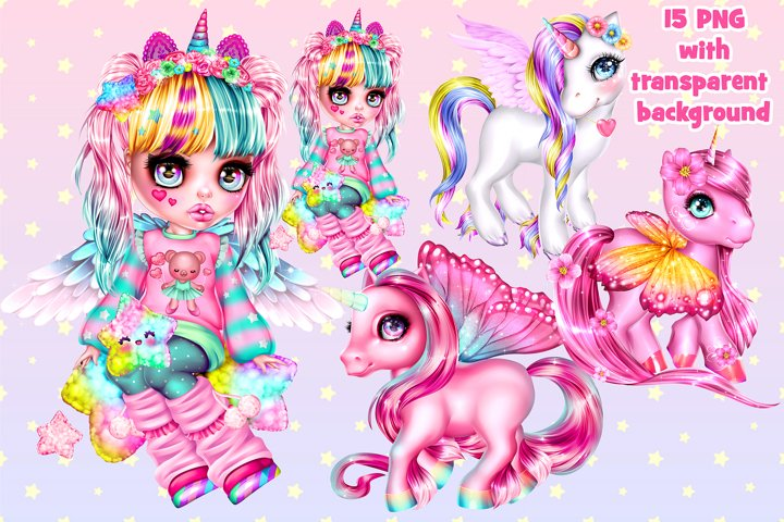 Magical unicorns and cute girl in anime style.