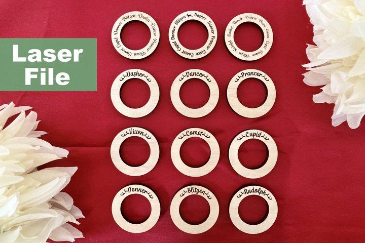 Laser SVG File - Reindeer Napkin Rings, Christmas, Winter