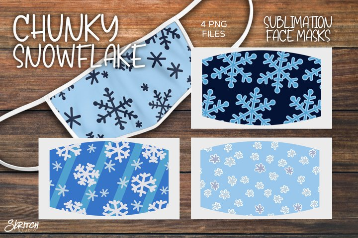 Sublimation Chunky Snowflake Face Mask Set - 4 PNGs