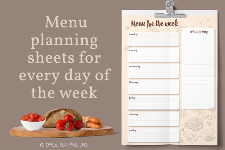 Menu planning sheets for every day of the week