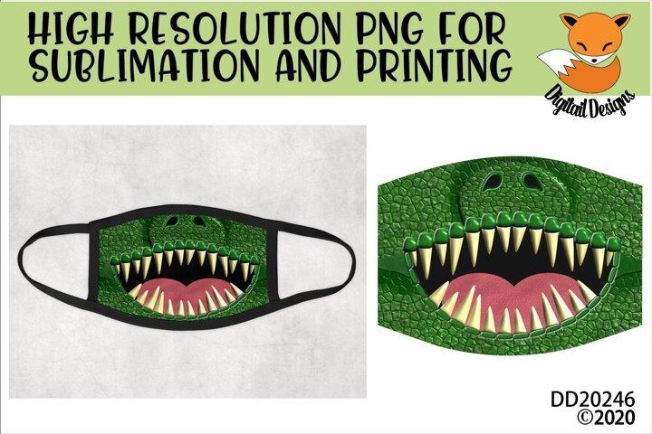 Funny Dinosaur Teeth Sublimation Design For Face Masks