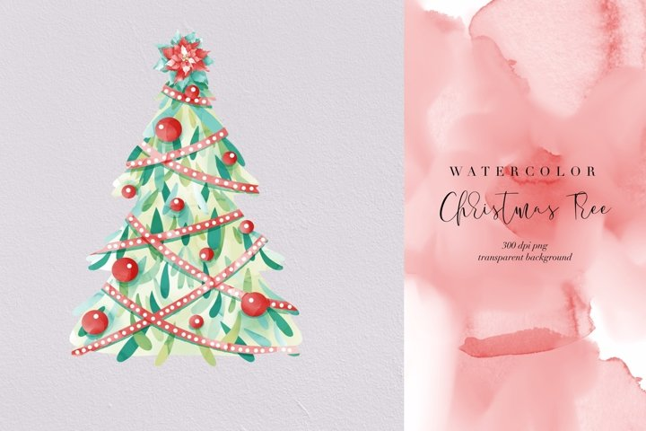 Watercolor Christmas Tree, Xmas holiday, transparent PNG