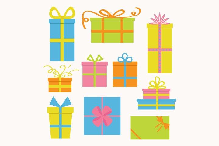 Gift box icon set. Vector illustration