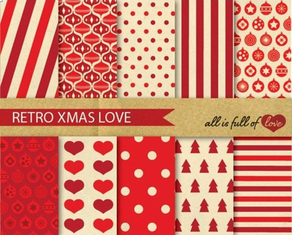 Red Background Vintage Xmas Digital Paper Pack Christmas Patterns gift wrapping paper and party decor