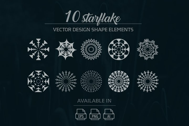 10 starflake vector design elements