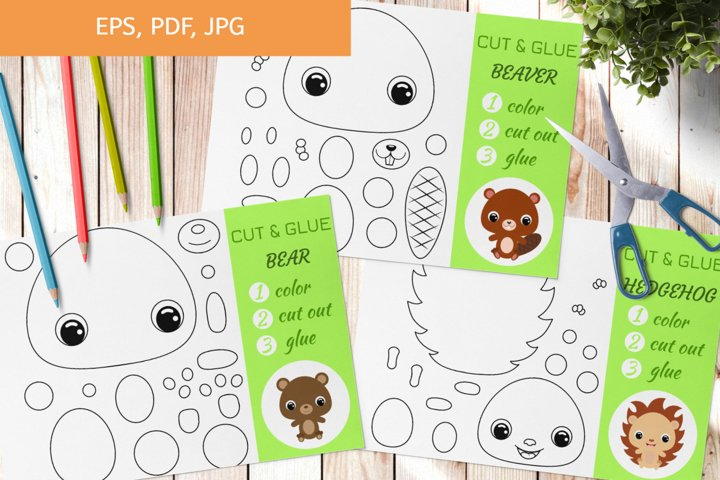 Cut and Glue Games for Kids, Coloring pages - Cut and Paste