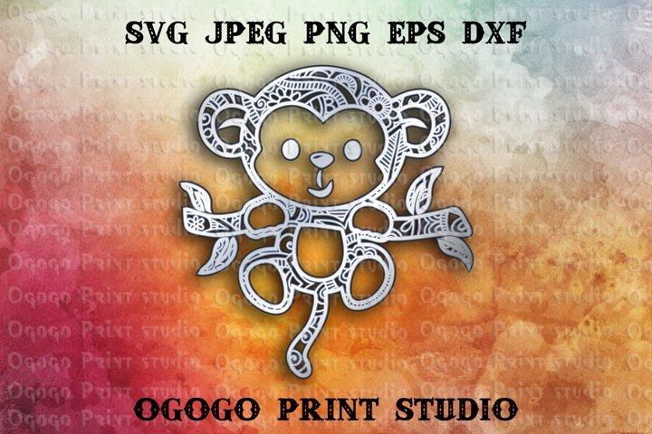 3D Layered Monkey Mandala Svg, Zentangle SVG, Animal Svg