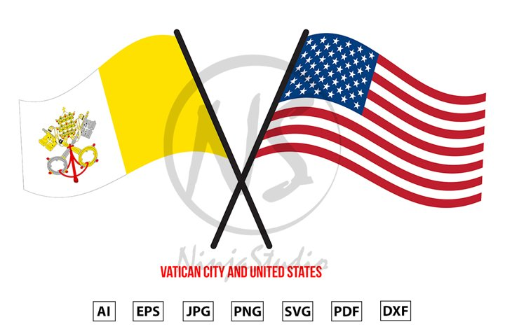Vatican City and United States Flags Crossed Flat Style