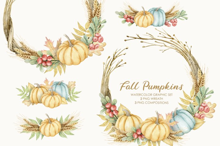 Watercolor Thanksgiving Clipart, Pumpkin fall wreath