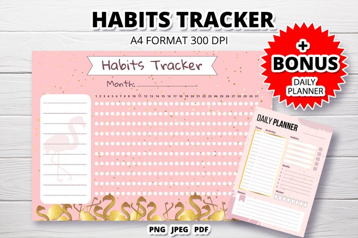 Habits tracker monthly and daily planner