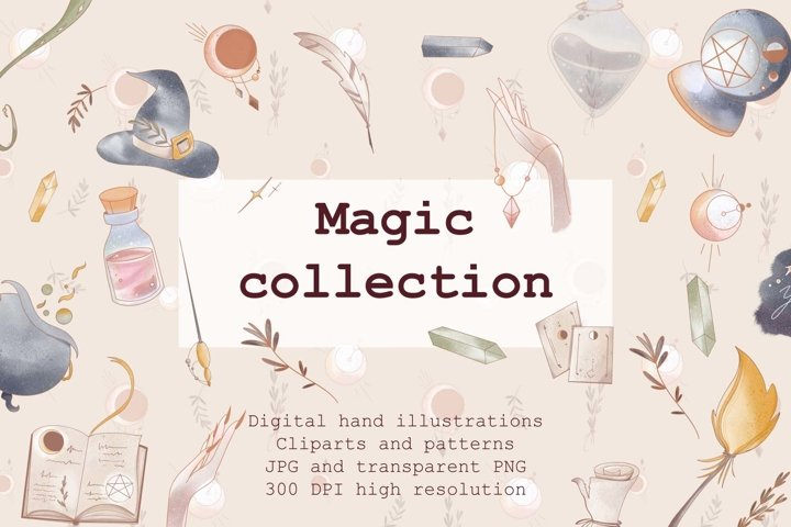 Mystical set occult magic witch hat, cauldron, crystal, book