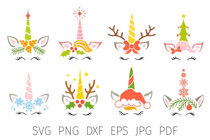Christmas unicorn bundle svg, Christmas unicorn face svg