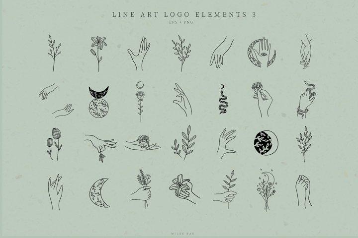 Line Art Logo Elements, Logo Design, Business card, Mystical