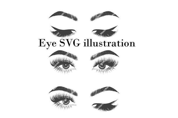 Set SVG of illustrations of the eye with wink