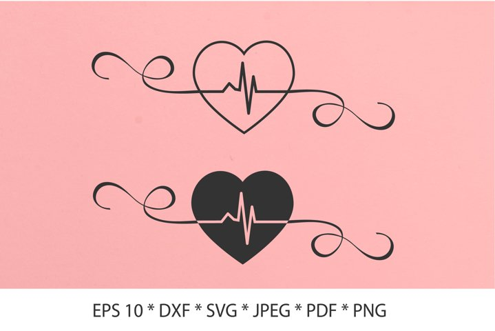 Heartbeat SVG. Line heart beat SVG