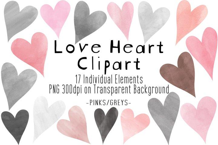 Pink & Grey Hearts Clipart | Watercolor Love Hearts PNG