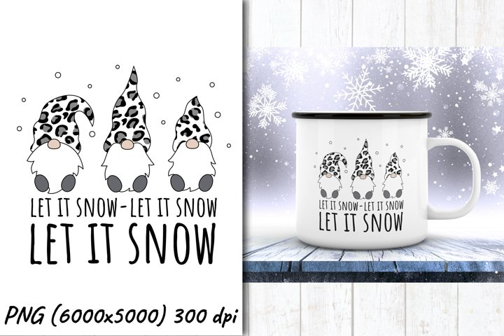 Three Christmas gnomes Leopard PNG |sublimation design