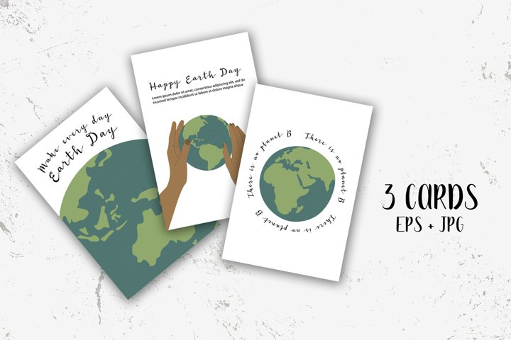 Happy Earth Day, Earth Hour. 3 cards