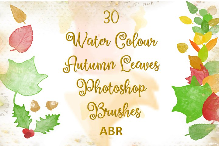 30 Watercolour Leaves Photoshop Brushes ABR
