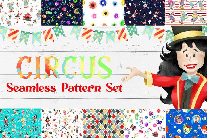 Watercolor Circus Pattern Set