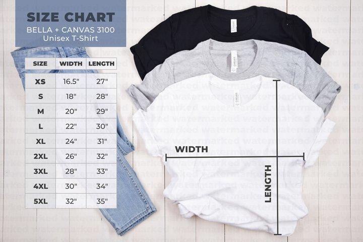 Bella Canvas 3001 Size Chart, Mockup Size Chart