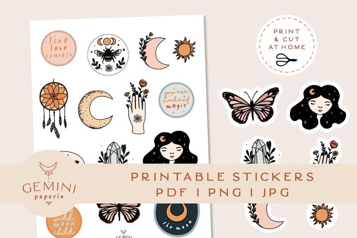 Mystical Printable Stickers   Cricut Design Sticker Sheet