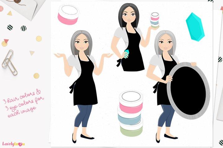 Chalk art woman character clipart L647 Carol