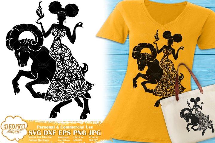 Aries SVG | Black Woman SVG | Zentangle SVG | Zodiac Sign