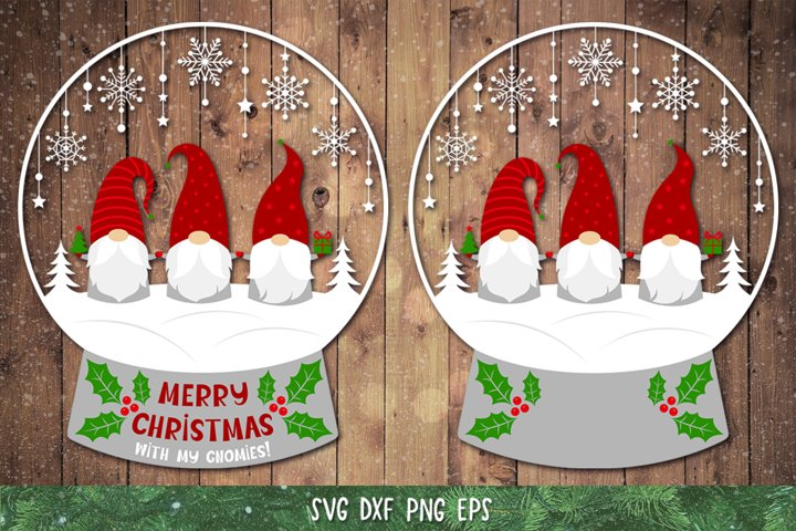 Snow Globe SVG,DXF,PNG,Gnome Christmas SVG,Gnomies Clipart
