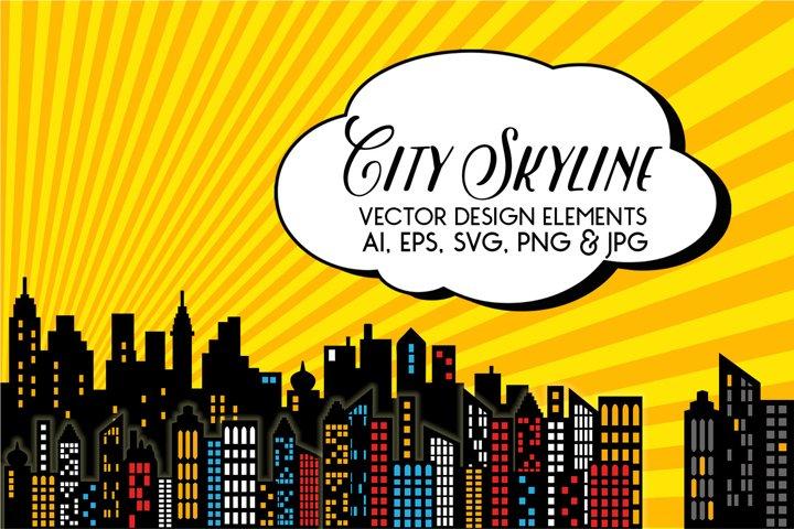 Superhero - City Skyline Vectors