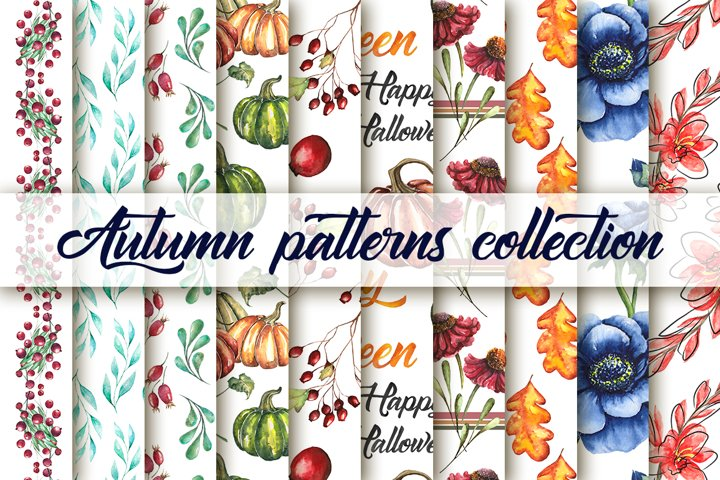 Watercolor collection of 20 autumn seamless patterns