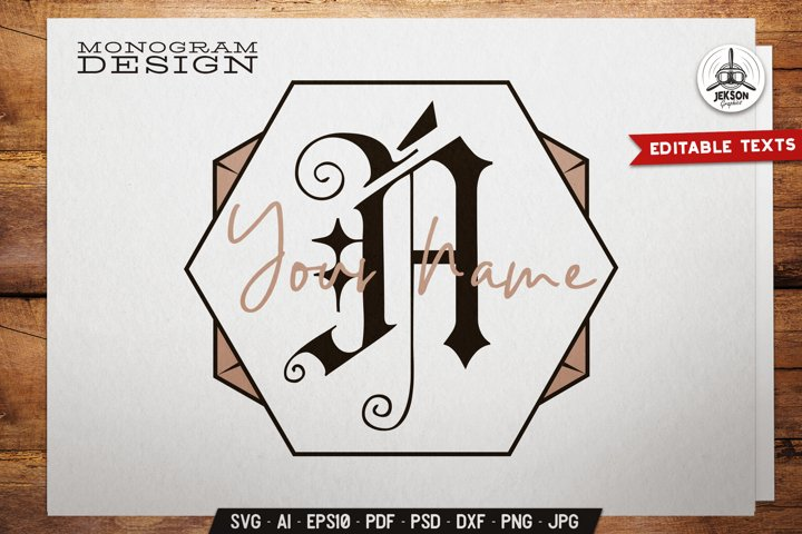 Name Monogram SVG Template Inside Unusual Shape Trendy Color