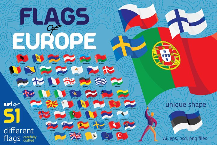 Flags of European countries. 51 flag set
