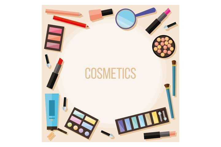 Cosmetic product vector pattern background.