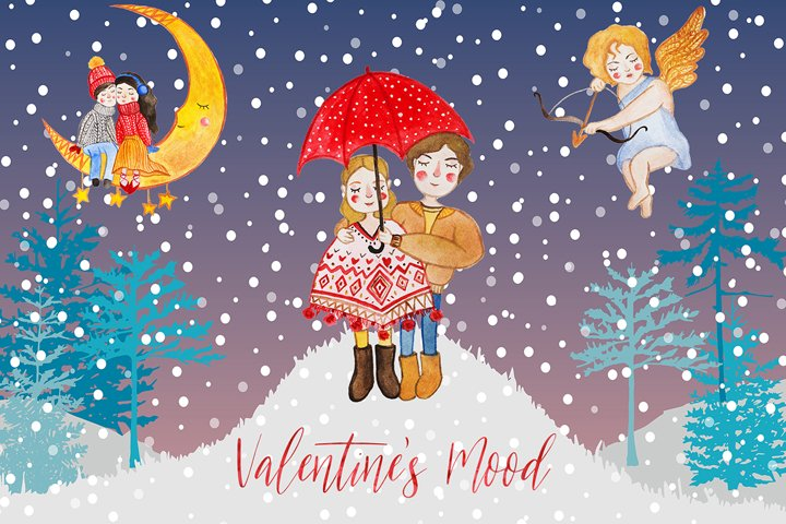 Valentines mood watercolor set