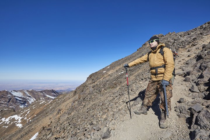 Alpinist in High Atlas Mountains.