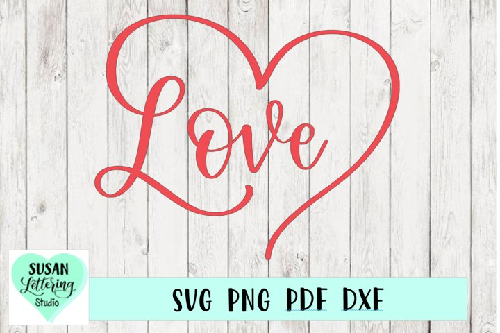 Hand lettered Love in Heart Script Font, Love Heart SVG